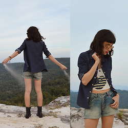 Diana Schneider - Maspem Denim Shirt, Custom Made Denim Shorts, Bottero Boots - Wild Child
