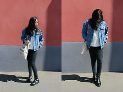Melanie L - Rad Bag, Forever21 Jeans, Truffle Cut Out Boots, Vintage Jacket - Spring has sprung