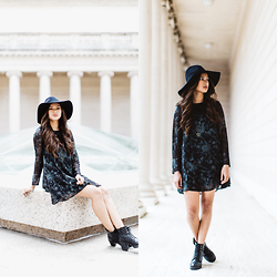Martha Cabatic - Urban Outfitters Floral Dress, Forever 21 Floppy Hat, Cathy Jean Booties - Dark Spring