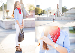 Silver Girl - Michael Kors Jet Set Saffiano' Leather Tote, Urban Outfitters Vintage Renewal Bandana, Calvin Klein Rose Gold 'City' Watch:, Rag & Bone White Skinny Jeans:, Gant Vertical Stripes Shirt, Massimo Dutti Roman Wedge Leather Sandals, Silver Girls - The Fountain of Fortune