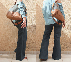 Artemis Leblog - Jennyfer Cut Out Shirt, New Look Striped Bag, Sinequanone Xxl Blue Jeans - Back to the 70's