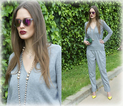 Amina Allam - Giant Vintage Mirror Sunnies, Zara Cashmere Jumper, Bottega Veneta Clutch, American Apparel Wide Cut Pants, Christian Louboutin So Kate Pumps - All grey with a pop of color