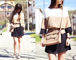 Dosta Radnjanska - Rosegal Dress, Guess Bag, Daniel Wellington Watch, Oasap Coat - Color block dress