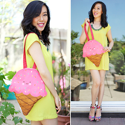 Sherry Lou - Sherry Lou Studio Ice Cream Tote, Sherry Lou Studio Neon T Shirt Dress, Forever 21 Floral Wedges - Handmade Ice Cream Tote