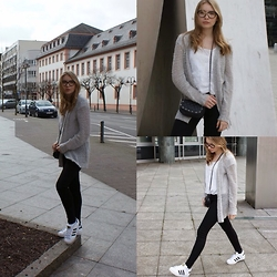 Milana Bagnyuk - Editedofficial Cardigan, Cheap Monday Jeans, Adidas Shoes - Non colored