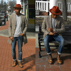 Justin T - Goorin Brothers Hat, Jackthreads Topcoat, Forever 21 Sweatshirt, Gap Jeans, Jackthreads Watch, Aldo Boots - The Streets Of Gettysburg