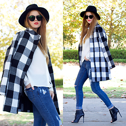Kiara King - Peace By Piece Fedora, Oscar Wylee Sunglasses, Bluejuice White Blouse, Shilla Check Coat, Dricoper Ripped Denim Skinny Jeans, Tony Bianco Booties - 15 Things To Do In Autumn