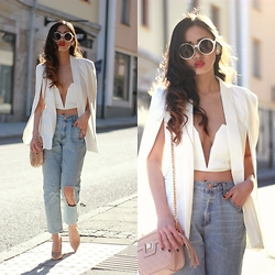 Louise Xin - Style Moi Split Sleeve Cape Blazer, Nasty Gal Crop Top, Rebecca Stella For Nelly Boyfriend Jeans, Asos Nude Pumps, River Island Nude Quilted Crossbody Bag - White cape blazer