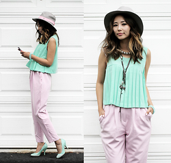 Queen Horsfall - Chic Wish Mint Top, Susanna Galanis, Oasap Vintage Wide, Stylenanda, Susanna Galanis - Fabulous Pastel
