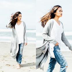 Martha Cabatic - Urban Outfitters Maxi Cardigan, Brandy Melville Usa White Tee, Abercombie And Fitch Boyfriend Jeans - Ocean Beach