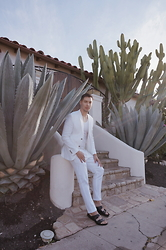 Lucca - Zara White Suit, Birkenstock Black Leather Sandals, Zara Tank - White