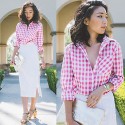 Stephanie Liu - Mindy Mae's Market Shirt, Mindy Mae's Market Clutch - Gold and Gingham