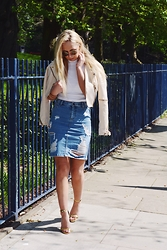 Georgia White - Asos Ripped Denim Skirt, Topshop White High Neck Crop Top, Asos Strappy Gold Heels, River Island Cropped Leather Jacket - A touch of denim