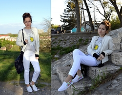 Marija M. - Stradivarius White Faux Leather Jacket, C&A White Jeggings, Diy Colorful Slip Ons - Styling DIY slip ons