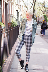 Emmy Geraghty - Rebecca Minkoff Macy Oxfords, H&M Plaid Trousers, Forever 21 Cat Graphic Tee, Urban Outfitters Bejeweled Collar, Urban Outfitters Utility Jacket - As Dapper As I Get