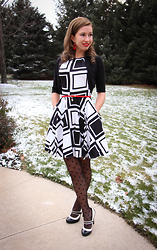 Lindsey Puls - Closet Clothing Skater Dress In Dice, Modcloth Retro Style Heels, Modcloth Polka Dot Tights - Roll the Dice