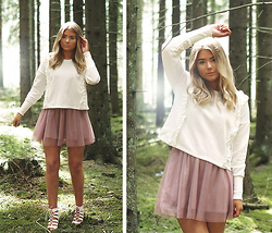 Fanny Lindblad - Gina Tricot Sweater, H´Bikbok Dress, Skopunkten Heels - Let's find some beautiful place to get lost