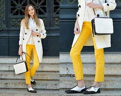 Olya Suvorova - H&M White Shirt, & Other Stories Leather Bag, Zara Yellow Pants - White and yellow