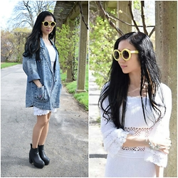 Veronica Nguyen - Younghungryfree Demim Jacket, Asos White Boho, Urban Outfitters Pastel Yellow Sunglasses - Spring has Sprung