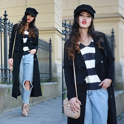 Louise Xin - Style Moi Trench Coat, Style Moi Sailor Cap, H&M Sailor Sweater, River Island Nude Quilted Bag, Rebecca Stella For Nelly Boyfriend Jeans - Sailor spirit