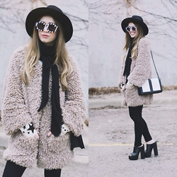 Julia Weber - Polette Eyewear Sunglasses, Lark Jacket, H&M Handbag, Wildfox Scarf, Missguided Platforms, Forever 21 Hat - B&W