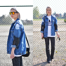 Nena F. - H&M Flared Trousers, Asos Denim Jacket, Adidas Logo T Shirt - Jeans and flared