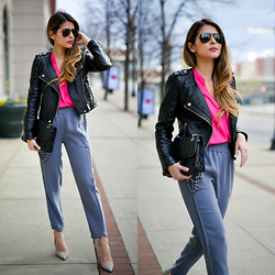 Pam Hetlinger - H&M Faux Leather Jacket, Ro & De Fuchsia Top, J. Crew Pants, Schutz Pumps - A touch of pink