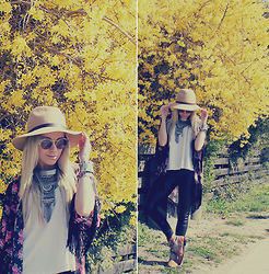 Joicy Muniz - Love.D Hat, Chilli Beans Sunnies, Forever 21 Bracelet, Chilli Beans Watch, Urban Outfitters Necklace, Riachuelo Shirt, Love.D Kimono, Manola Leggings, Zara Boots - Spring is in the air!