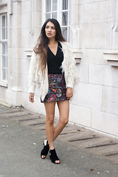 Anoushka P - Chicwish Cream Cardi, Topshop Paisley Skirt, Missguided Black Cut Out Boots - Take 10 x Braun
