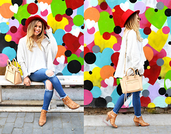 Katie Miller - Truly Madly Deeply Striped Over Size Sweat´®, Vibrant Miu Ripped Skinny Jeans, Rebecca Minkoff Shoulder Bag, Dolce Vita Booties, Austin Panama Hat - Heart-Rageous