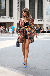 Chic Adventure It! By Giha - Topshop Crop Top, Topshop Kimono, Phillip Lim Pashli Bag, Karen Walker Sunglasses, Zara Stilettos - Kimono for spring