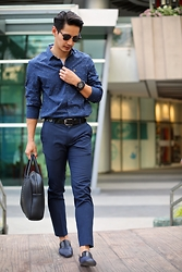 The Filo Dapper - Penguin Button Down Shirt, Topman Pants, Bottega Veneta Slippers, Zara Bag, Ray Ban Clubmaster, Tw Steel Wrist Watch - Bluer than Blue
