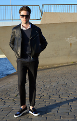 Jordi - Acne Studios Gibson Leather Jacket, Cos Sweater, Topman Wool Pants, Acne Studios Hans Shoes - Sunset at the quay
