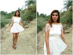 Pooja Mittal - White Flat Shoulders Sexy Chiffon Lace Dress - Angelic White Dress-Boho Style