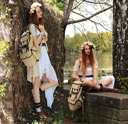 Liza LaBoheme - Estarer Backpack, Dawanda Flower Crown, Swapped Kimono, Topshop Asymmetric Top, Topshop Sea Shell Necklace, Swapped Boots - Heaven is a place on earth