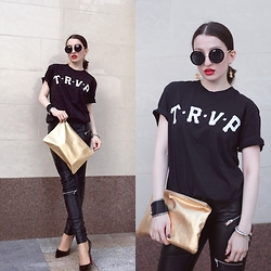 Lil Alina - Trapnco Tee, American Apparel Clutch, Chrome Hearts Bracelet, Zara Leather Pants, Christian Louboutin Pigalle 120mm, Chanel Earrings - Casual Elegance