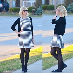 Tatiana M - Joe Fresh Dress, J. Crew Flats, H&M Cardigan, Kate Spade Sunglasses - Monochrome Stripes