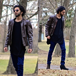 Tah ∆li - Lost & Found Vintage Octagonal Shades, Brooks Brothers Vintage Brown Motorcycle Jacket, Clotho Wardrobe Black Asymmetrical Shirt, Byther Blue Jeans, Mute Kill Heel Suede Boots - Jane's Revenge