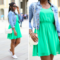 Orryginal - H&M Denim Jacket, H&M Green Dress, H&M White Shoes, Gucci Shades - GREEN THE COLOUR OF HOPE | ORRYGINAL.COM