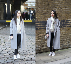Claire H. - Grey Coat, Primark Black Pants, Paul & Joe Sweater, Bush Green Scarf - London