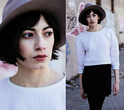 Cara Jimenez - Comptoir Des Cotonniers Gray Hat, Tibi White Crop Jumper, American Apparel Black Mini - SPRING INTO IT
