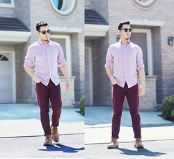 Christopher Michael - Zara Burgundy Pants, Steve Madden Brogues, Izod Red And White Striped Shirt - SUMMER SUN
