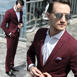 I N F A S H I O N I T Y a style story - Christian Dior So Real, H&M Burgundy Suit - BURGUNDY SUIT