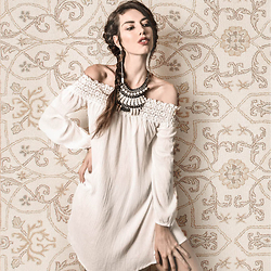 Elle-May Leckenby - White Off Shoulder Dress, Giant Tsumi Necklace - Why won't you make up your mind