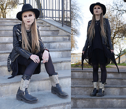 Mona&Linda Pedersen - Jofama By Kenza Leather Jacket, Ash Footwear Boots, Laird Hatters Hat - Escape into the night