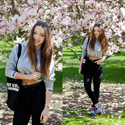 Gabriela Grębska - Diamante Wear Crop Sweatshirt, Adidas Zx Flux Sneakers, H&M High Waist Jeans, Lorus Watch, Zero Uv Sunglasses - Happy sneakers