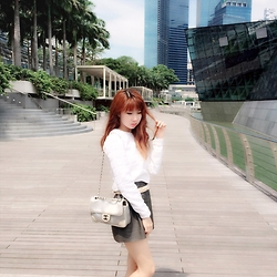 Birdie Liau - White Sweater, Alexander Wang Black Croc Skirt, Chanel Bag - Singapore