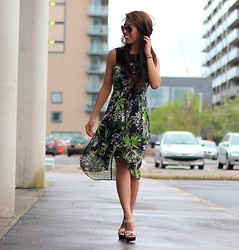 Sindy N - Dress, Shoes - Printed Palm Dress