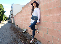 ASH - Zara Glitter Flatforms, Chanel Denim Shoulder Bag, H&M Peplum Button Up Blouse - Casual Weekend Look