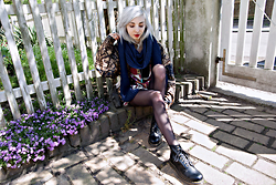 Kimi Peri - Dr. Martens Boots, Black Tights, Second Hand Midnight Blue Scarf, Kloth Vintage Blouse, Kloth Vintage Silk Bomber Jacket, Selfmade Sun Pendant Choker - I Dream In Kloth and Vintage